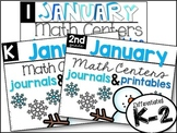 K-2 January Math Centers, Journals, and Printables Bundle