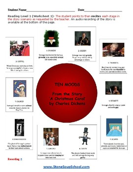 """K - 2 LD Learning Disabled -  """"A Christmas Carol"""" Moods of the Story - Reading"""