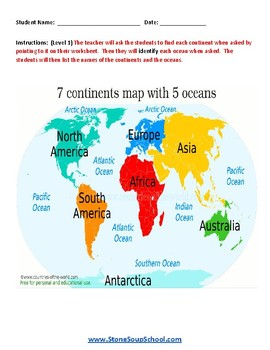 K - 2 Learning the Continents for Students with Autism