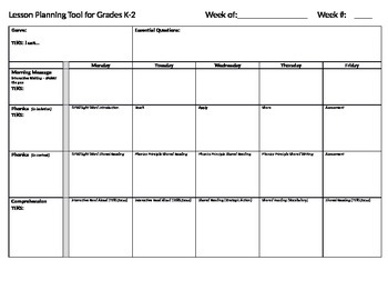 TEXAS (TEKS) K-2 Lesson Planning Tool