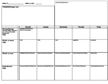 K-2 Lesson Planning Worksheet