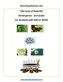 K - 2  -  Life Cycle of Butterfly - ADD ADHD - Reading - Science