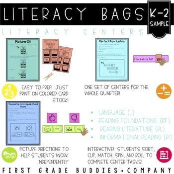 Literacy Bags Sample FREEBIE  {K-2 Literacy Centers}