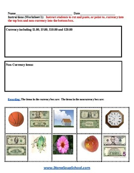 K - 2 Math -  For Students With Autism -  Identify Bill Amounts
