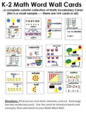 K-2 Math Vocabulary Word Wall Cards