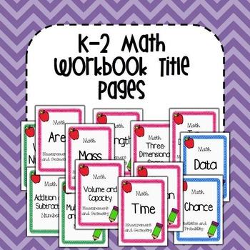 K-2 Maths Workbook Title Pages