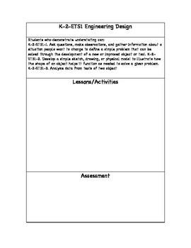K-2 NGSS Engineering Design Planning Sheet