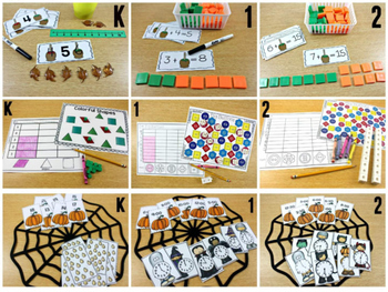 K-2 October Math Centers, Journals, and Printables Bundle