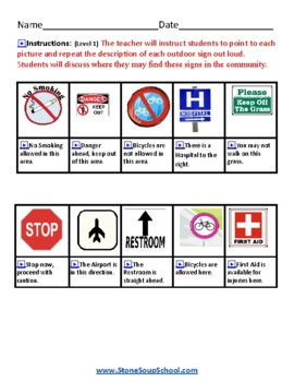 K - 2 Outdoor Signs - for Students w/ Hearing Impairments