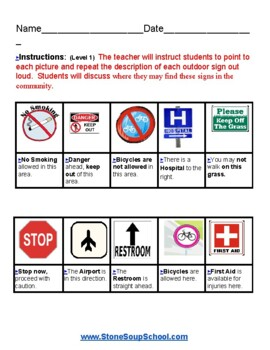 K - 2 Outdoor Signs - for Students w/ Visual Impairments
