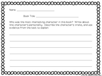 Reading Comprehension Worksheets and Prompts for Kindergarten, First, or Second