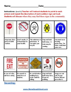 K - 2 Reading: Danger Signs - Life Skills -  Students with Learning Disabilities