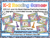 K-2 Reading Games: 12 Print & Go Boards (w/ Digraphs, r-Co