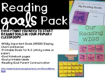 K-2 Reading Goals Pack - Display, Goal Cards, and Notebook