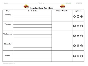 reading log template K-2 Reading Log Template by Rachel Delicate | Teachers Pay Teachers