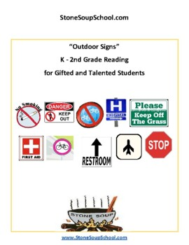 K - 2 Reading: Outdoor Signs -  for Gifted and Talented Students - Visual Aid