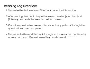 K-2 Reading log