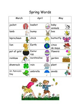 K-2 Seasonal Word Lists