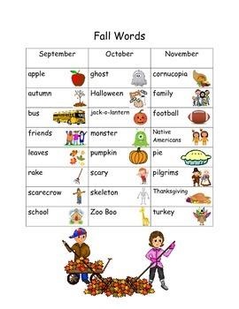 K-2 Seasonal Word Lists