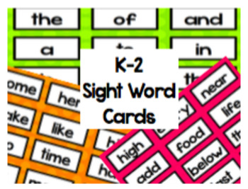 K-2 Sight Word Cards