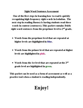 K-2 Sight Word Sentence Bundle