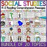 K-2 Social Studies Reading Comprehension Passages Bundle