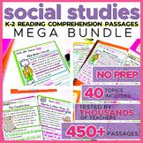 K-2 Social Studies Reading Comprehension Passages Mega Bundle