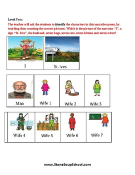 K - 2  -  Speech and Language - Reading - As I Was Going to St Ives - Poetry
