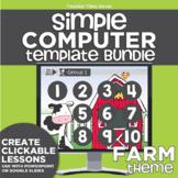 K-2 Simple Computer Center Lab Lesson Template Bundle: Farm Theme