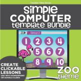 K-2 Simple Computer Center Lab Lesson Template Bundle: Zoo Theme