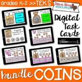 K-2 U.S. Coin Bundle TEKS Boom Cards | Coin Boom Card Bund