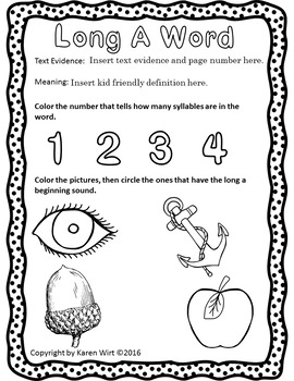 Editable Vocabulary Worksheets Freebie (K-3rd)