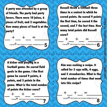 K-2 Word Problems Task Cards (Scaffolded Version Included)