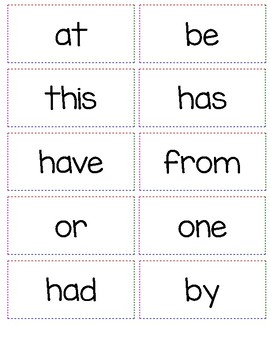 K-2 Word Wall Sight Words