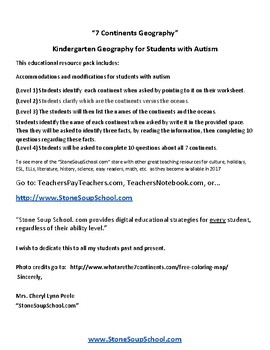 K - 2 World Geography for Students with Autism
