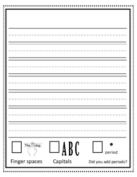 K-2 Writing Template with Editing Checklist