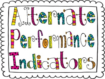 K-2nd Alternate Performance Indicators Posters (Special Education Teachers)