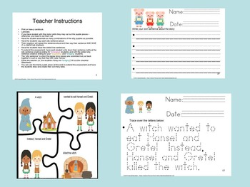 K-2nd Grade Fairy Tale Silly Sentences Assessment Activities ELD/SPED