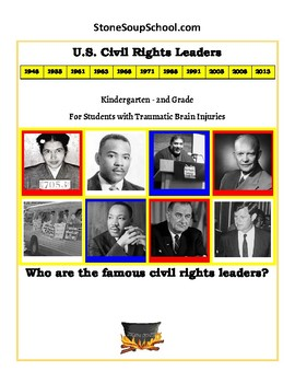 """K-2  """"U.S. Civil Rights Leaders"""" Students with Traumatic Brain Injuries"""