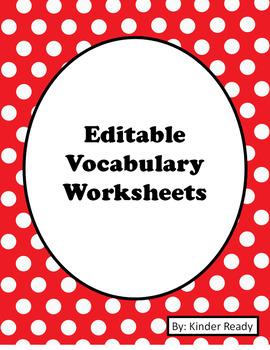 Editable Vocabulary Bundle Set (K-3rd)