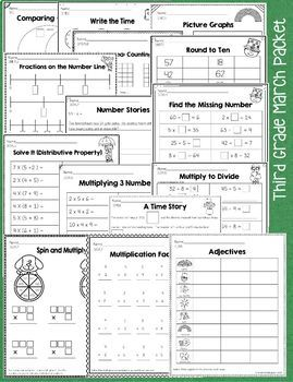 K - 3 March Math and Literacy Packet Common Core No Prep Bundle