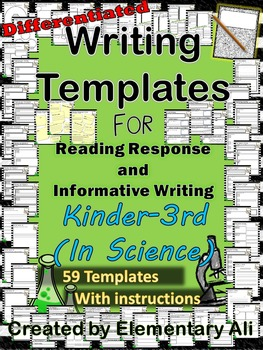 k 3 science writing templates reading response and informative writing