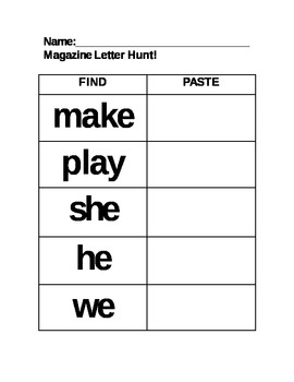Sight Word Magazine Hunt Center Phonics key words EDITABLE