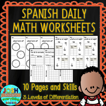 Spanish Daily Math Worksheets 3 Levels Of Differentiation Tpt