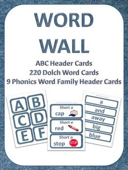 K-3 Word Wall Set w/ABC, Dolch Words, & Phonics (Word Family) Cards