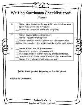 K-3 Writing Continuum Checklist