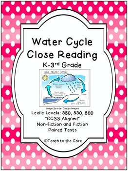 Water Cycle Close Reading - K-3rd Grade - **CCSS Aligned
