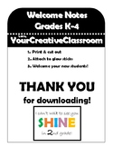 K-4 Student Welcome Notes