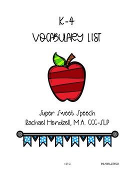 K-4 Vocabulary Lists