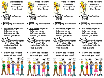 K-5 Annotating Text Bookmarks